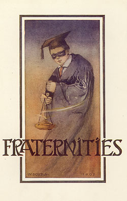 Fraternities with masked student, illustration