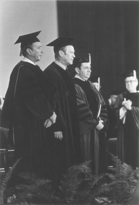 President Gerald Ford with Donald Regan and Martin Meyerson Commencement, 1975 National Bicentennial