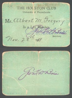 Houston Club, membership identification card, 1911