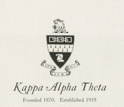 Kappa Alpha Theta, sorority, insignia, 1922