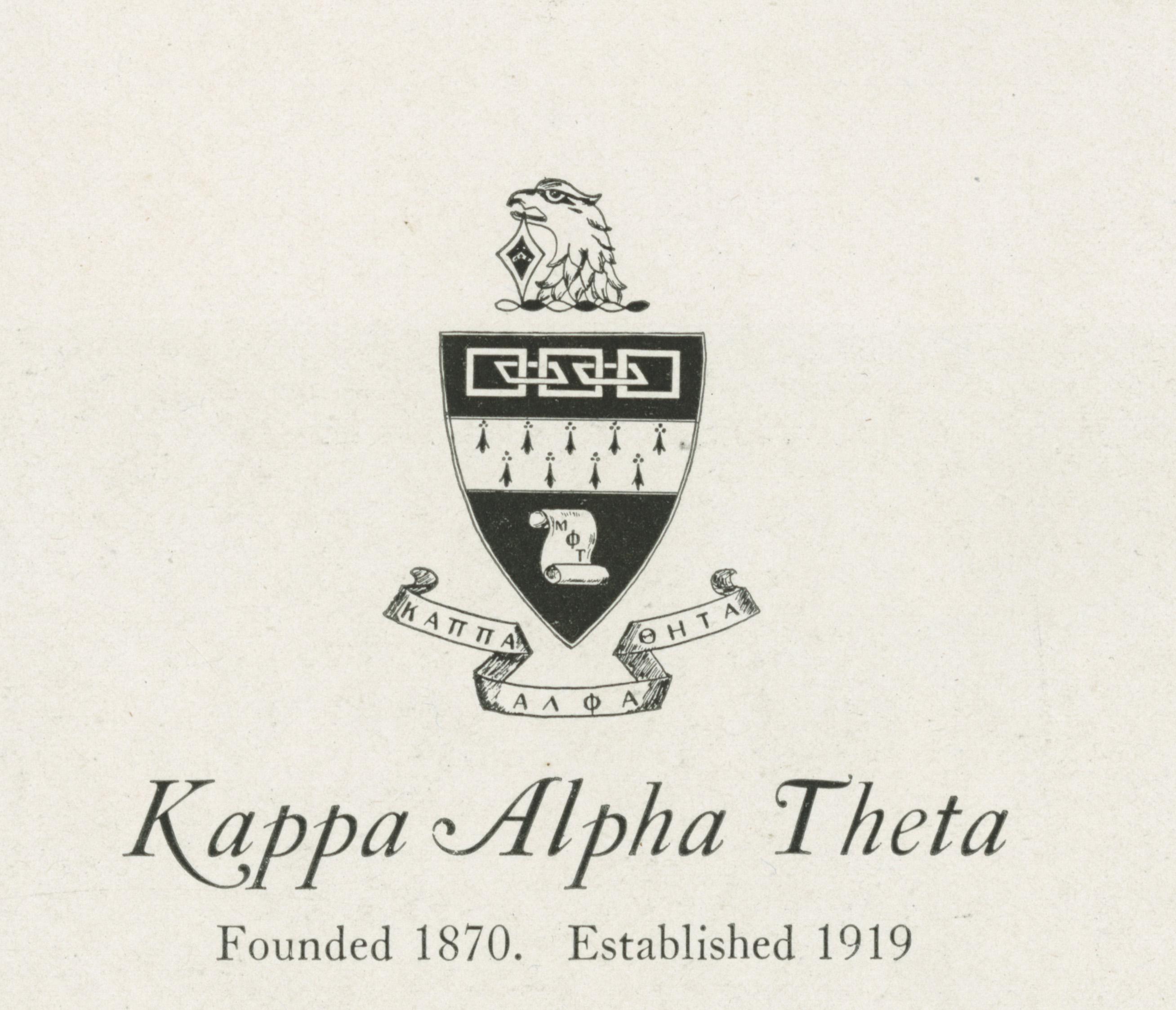 Sororities at Penn, 1890-1990 Kappa Alpha Theta (1919