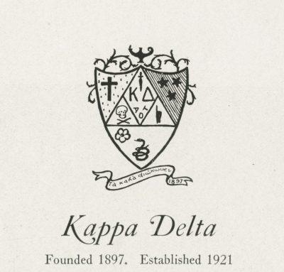 Kappa Delta, sorority, insignia, 1922