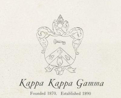 Kappa Kappa Gamma, sorority, insignia, 1922