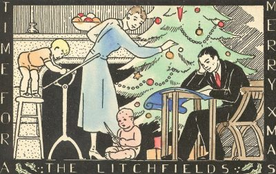 Clarence Litchfield, Christmas card, 1934