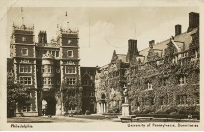 Upper Quad and Memorial Tower, George Whitefield Statue, 1939