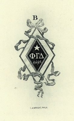 Phi Gamma Delta, Beta chapter fraternity, insignia, 1901