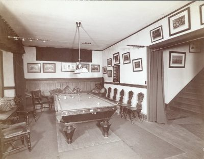Phi Kappa Psi, Iota Chapter fraternity house, pool room, 1905