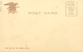 "Postcard back, ""College Girl"", blank, 1905"