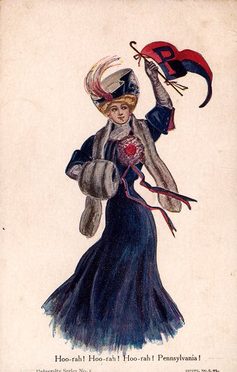 Postcard, 'College Girl,' in blue dress, standing and waving 'P' pennant tied to a cane
