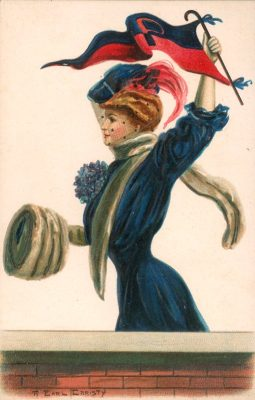 "Postcard, ""College Girl"" standing, holding a ""P"" pennant"