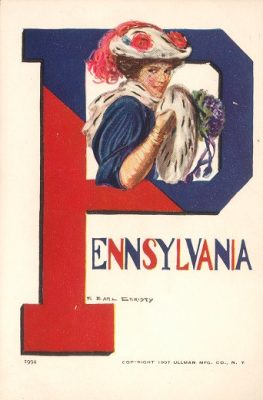 "Postcard, ""College Girl"" framed within the ""P"" of Pennsylvania"