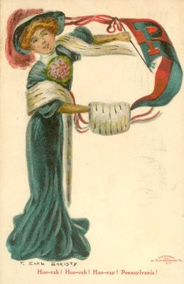 "Postcard, ""College Girl"" standing and holding a blue ""P"" pennant"