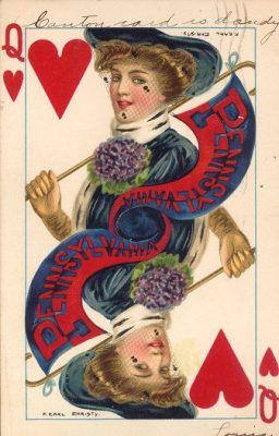 "Postcard, ""College Queen"" series no. 2767, featuring Queen of Hearts holding a cane with blue and red Pennsylvania pennant"