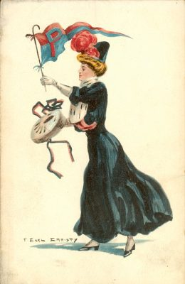 "Postcard, ""College Girl"" standing and holding a drum in right hand and a red and blue ""P"" pennant in left hand"