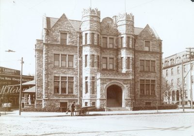 "Psi Upsilon, Tau chapter fraternity house, the ""Castle,"" 300 S 36th Street. 1900"