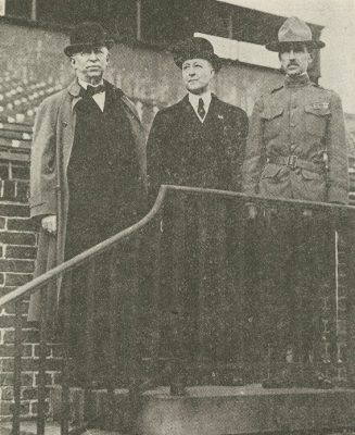 Provost Smith, Vice Provost Penniman, and Major Kelly reviewing Battalion, 1917