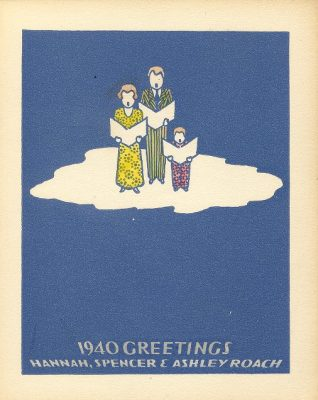 Christmas card, Franklin Spencer Roach and Hannah Benner Roach, 1940