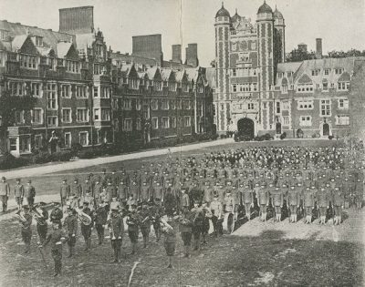 Student Battalion lined up in Dormitory Quadrangle