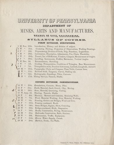 Syllabus of Course, Department of Mines, Arts, and Manufactures, Branch of Civil Engineering, 1855