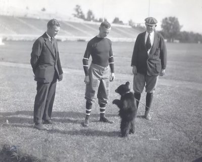 """Touchdown III"", Cornell University football team's black bear cub mascot, standing on Franklin Field, 1920"