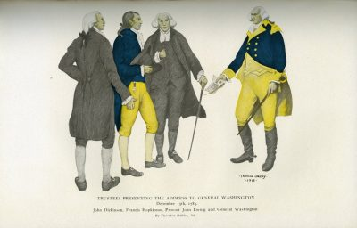 Washington receiving an honorary degree from Penn trustees John Dickinson, Francis Hopkinson, and Provost John Ewing in 1783, c.1915