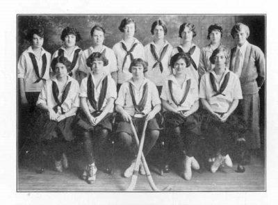 Women's varsity hockey team, Margaret Majer, standing at far right, 1924