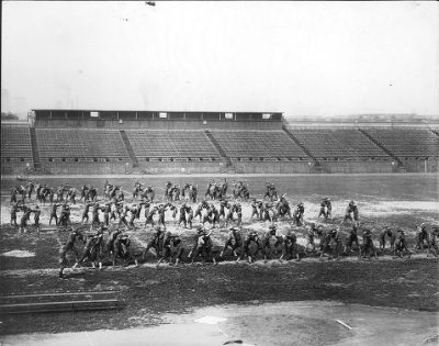 World War I: Military exercises on Franklin Field by the Reserve Officers Training Corps, 1918