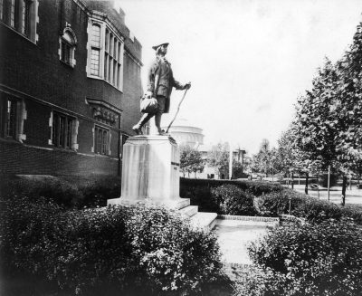 Statue of Young Benjamin Franklin by R. Tait McKenzie, statue and base, 1914
