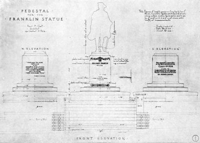 Statue of Young Benjamin Franklin, blueprint of base, 1913