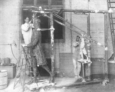 Statue of Young Benjamin Franklin, work in progress, 1913