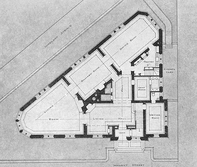 Zeta Psi, Sigma chapter fraternity house, first floor plan, 1911