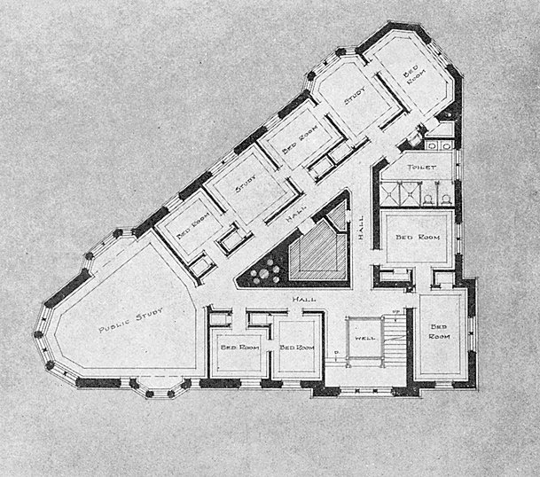 Zeta Psi, Sigma chapter fraternity house, second floor plan, 1911