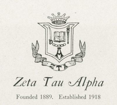 Zeta Tau Alpha, sorority, insignia, 1922
