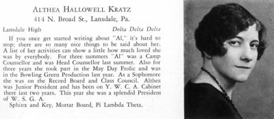 Althea Kratz Hottel (1907-2000), B.S. in Ed. 1929, A.M. 1934, Ph.D. 1940, LL.D. (hon.) 1959, yearbook photograph, 1929