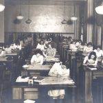 College for Women (possibly Bennett Hall), interior classroom, 1945