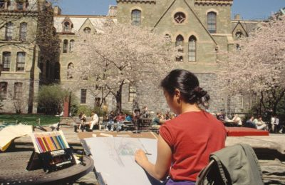 College Hall, exterior with student sketching, 1992