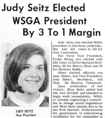 Judith Seitz (Rodin), election as Women's Student Government Association (WSGA) president, 1965