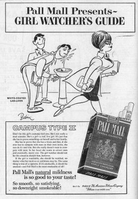 Pall Mall cigarettes, advertisement in student newspaper, 1962