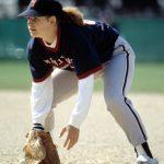 Softball, woman fielding the ball, 1992