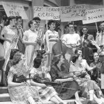 Student protest outside Eisenlohr Hall, 1952