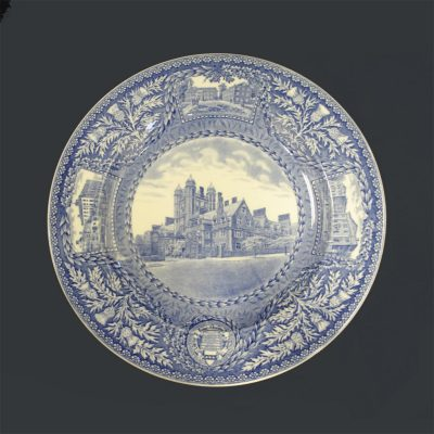 Wedgwood dinner plate, Entrance to Quadrangle Dormitories, 1929