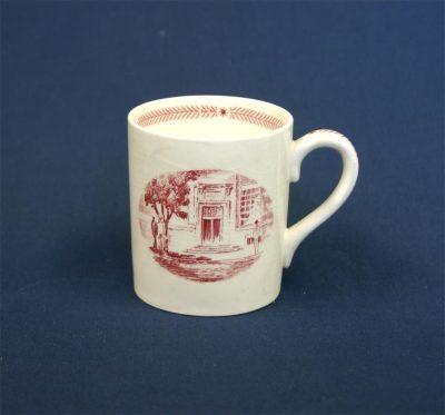 Wedgwood china, cup depicting Moore School Doorway, 1940