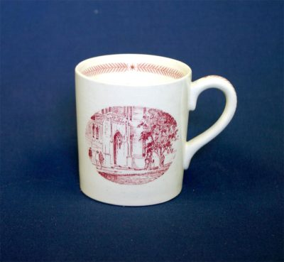 Wedgwood china, cup depicting Christian Association, 1940
