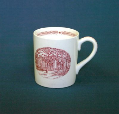 Wedgwood china, cup depicting College Hall in 1861 (Ninth Street Campus), 1940