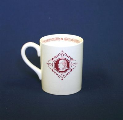 Wedgwood china, cup depicting a Benjamin Franklin Medallion, 1940