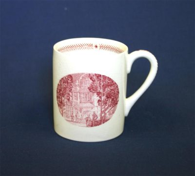 Wedgwood china, cup depicting Houston Hall Porch, 1940