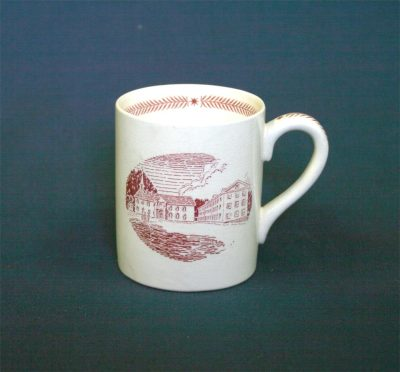 Wedgwood china, cup depicting pre-Revolutionary buildings (Fourth Street campus), 1940