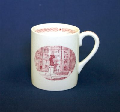 Wedgwood china, cup depicting Whitefield Statue and Memorial Tower, 1940
