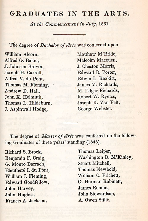 List of graduates, College Class of 1851