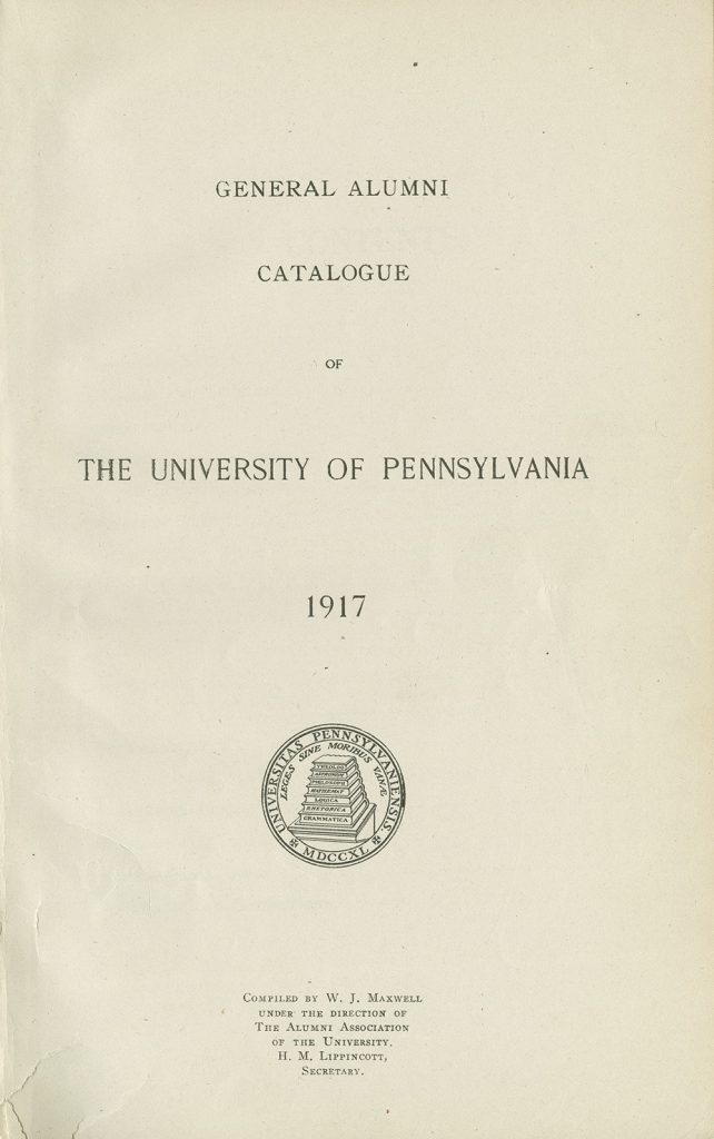 General Alumni Catalogue of the University of Pennsylvania (1917), cover